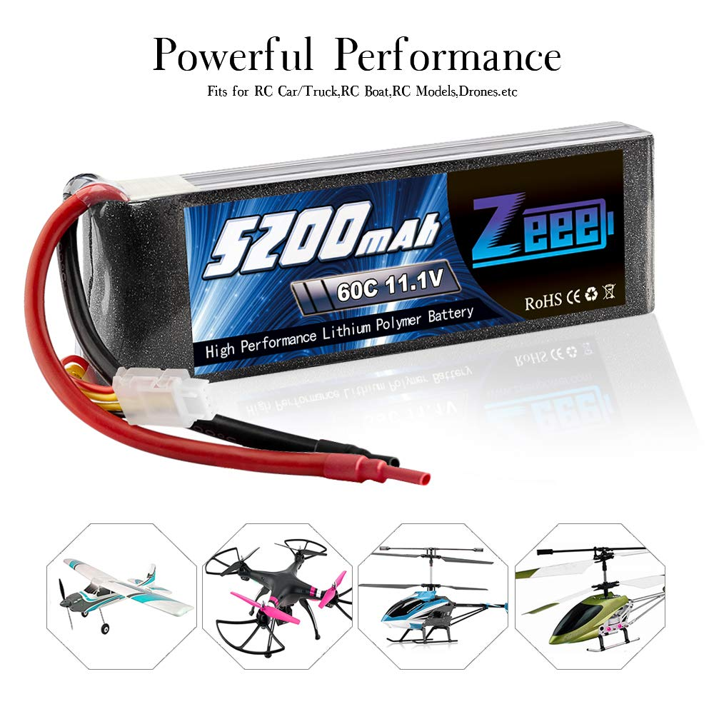 Zeee 5200mAh 11.1V 60C 3S LiPo Battery with (XT60 and Deans Connector) for RC Plane, DJI F450 Quadcopter,RC Airplane, RC Helicopter, RC Car/Truck, RC Boat by Zeee (Image #6)