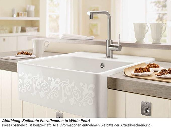 Villeroy & Boch Spülstein Einzelbecken White Pearl Keramik-Spüle ...