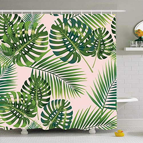 Ahawoso Shower Curtain for Bathroom 72 x 72 Inches Hawaiian Pink Leaf Palm Tropical Leaves Pattern Banana Green Tree Jungle Plant Waterproof Polyester Fabric Set with Hooks ()