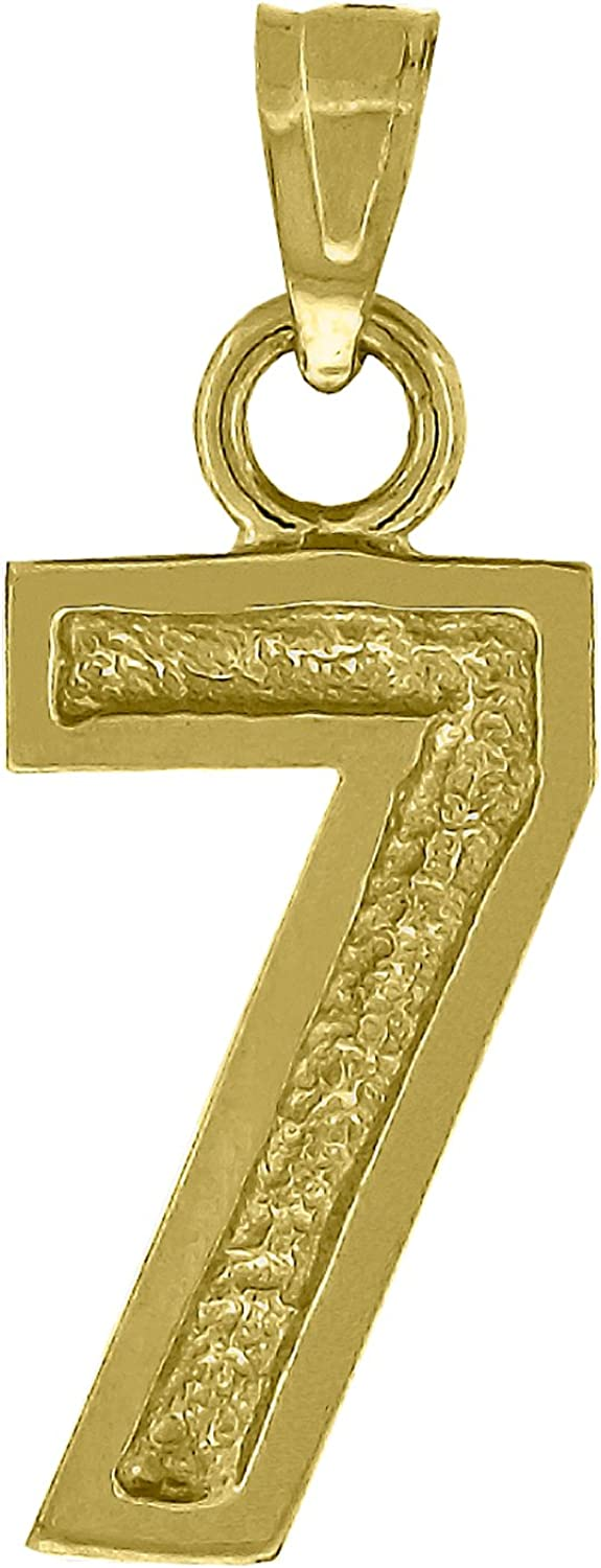 Jewels By Lux 10kt Gold Unisex 7 Seven Ht:22.2mm x W:8.4mm Number Charm Pendant.