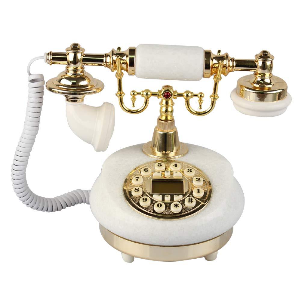 固定電話/ヨーロッパの家レトロ電話/昔ながらのアンティーク電話/木製電話/ヨーロッパの電話家固定レトロ電話レトロアンティーク26 * 22 * 21 cm、から選択する色のバラエティ (色 : 白) B07JCSJ5QW 白