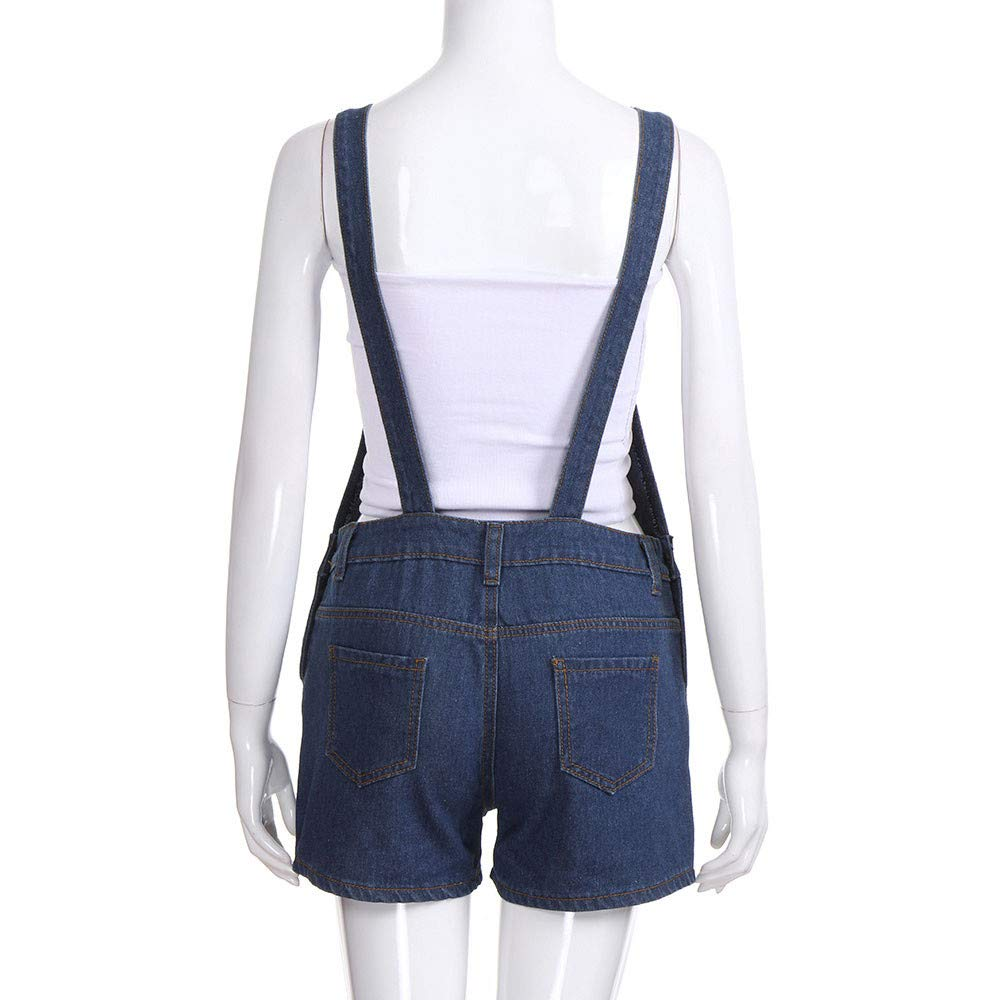 Ladies Bib Hole Pants Solid Color Jeans Casual Strap Shorts Jumpsuit CSSD Womens Loose Overalls with Pocket
