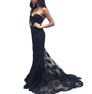 YuNuo Mermaid Evening Dresses 2018 Long Sweetheart Black Prom Dresses For Seniors Black-US2