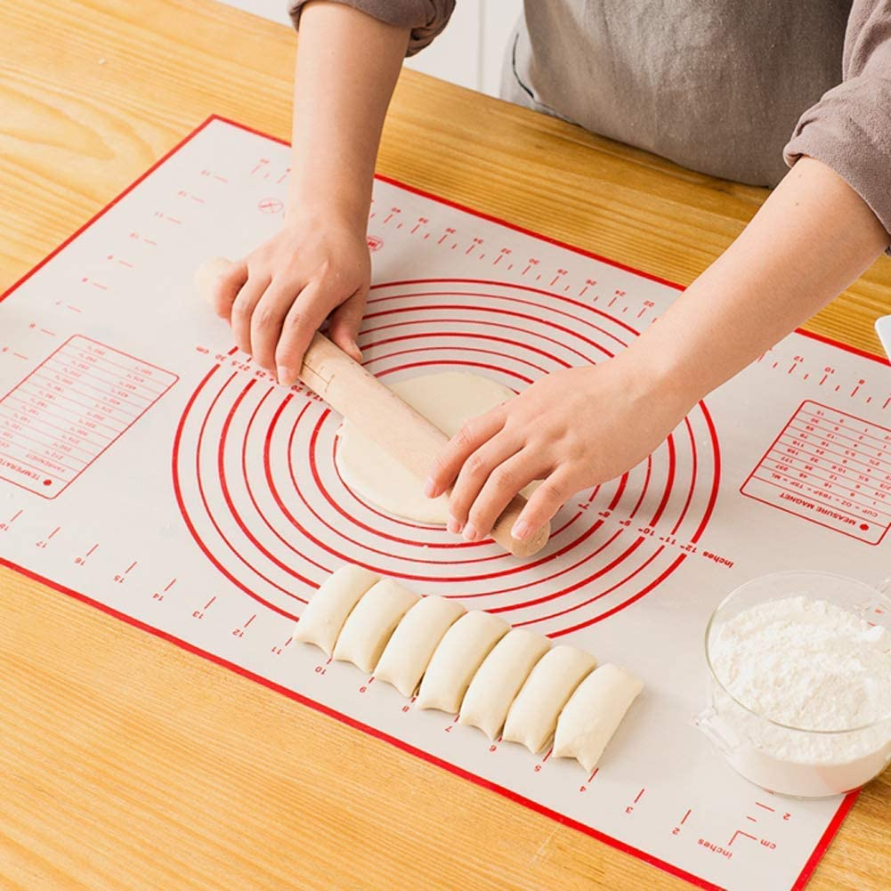 Extra Large Non Slip with Measurement Easy Clean Kneading Matts 16 x 24in//40 x 60cm Silicone Pastry Mat Non Stick and BPA Free for Fondant Rolling Dough Pie Crust Pizza and Cookies Red