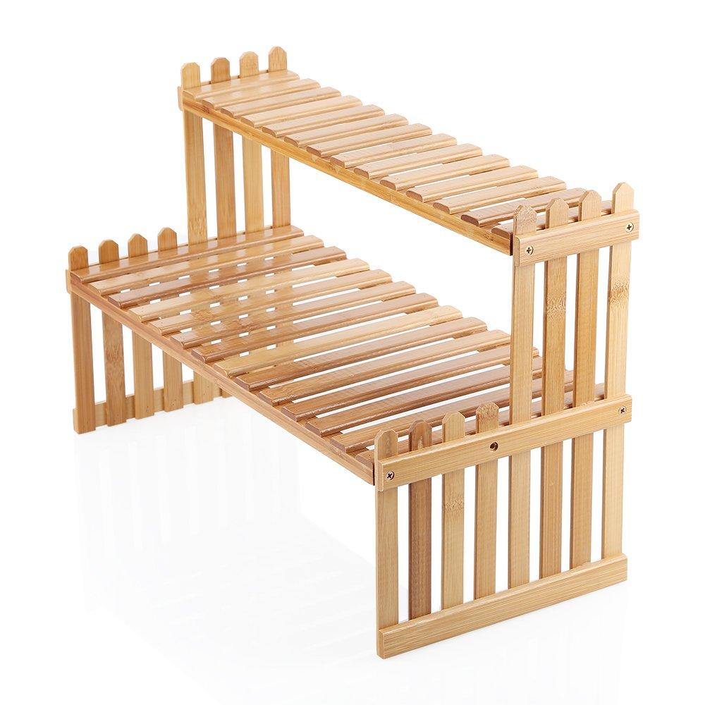 OGORI Tabletop Natural Bamboo Plant Stand, 2 Tier Desktop Shelf Rack Bonsai Tools