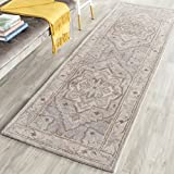 Safavieh Heritage Collection HG866A Handcrafted Traditional Oriental Beige and Grey Premium Wool Runner (2'3'' x 10')