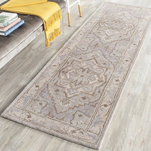 Safavieh Heritage Collection HG866A Handmade Traditional Oriental Beige and Grey Premium Wool Runner (2'3 x 12′)