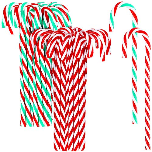 Bememo 24 Pieces Twisted Christmas Candy Cane Red Green White Candy Cane Ornaments for Christmas Party Embellishment (Red and White, Red Green and White)