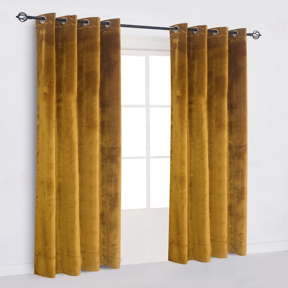 Super Soft Luxury Velvet Set of 2 Warm Yellow Blackout Velvet Energy Efficient Grommet Curtain Panel Drapes Ginger Mustard Curtain Panels