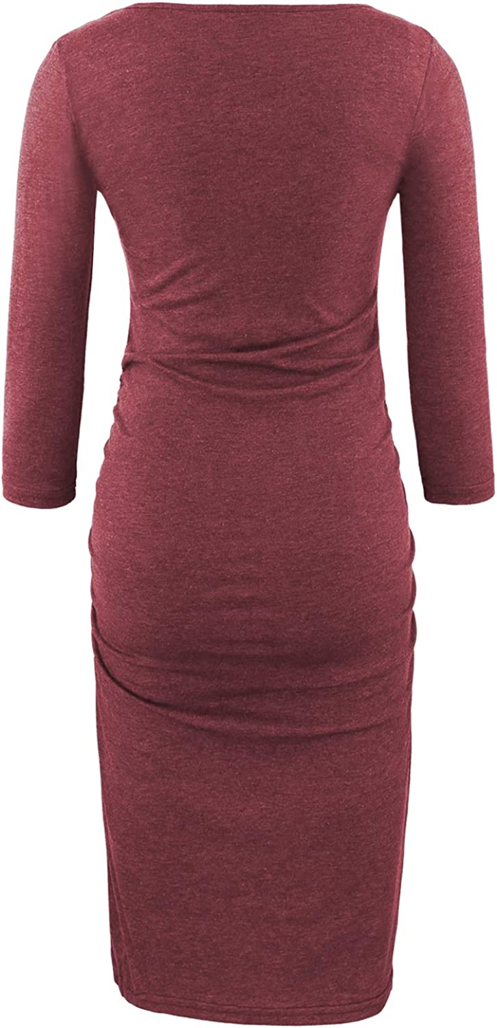 BBHoping Maternity Dress 3//4 Sleeve Ruched Pregnancy Dresses Wine Red