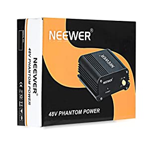 Neewer® 2 Pack 1- Channel 48V Phantom Power Supply Black with Adapter and XLR Audio Cable for Any Condenser Microphone Music Recording Equipment (Tamaño: 2 Pack)