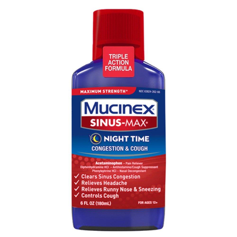 Mucinex Sinus-Max Max Strength Night Time Cough & Congestion Relief Liquid, 6oz