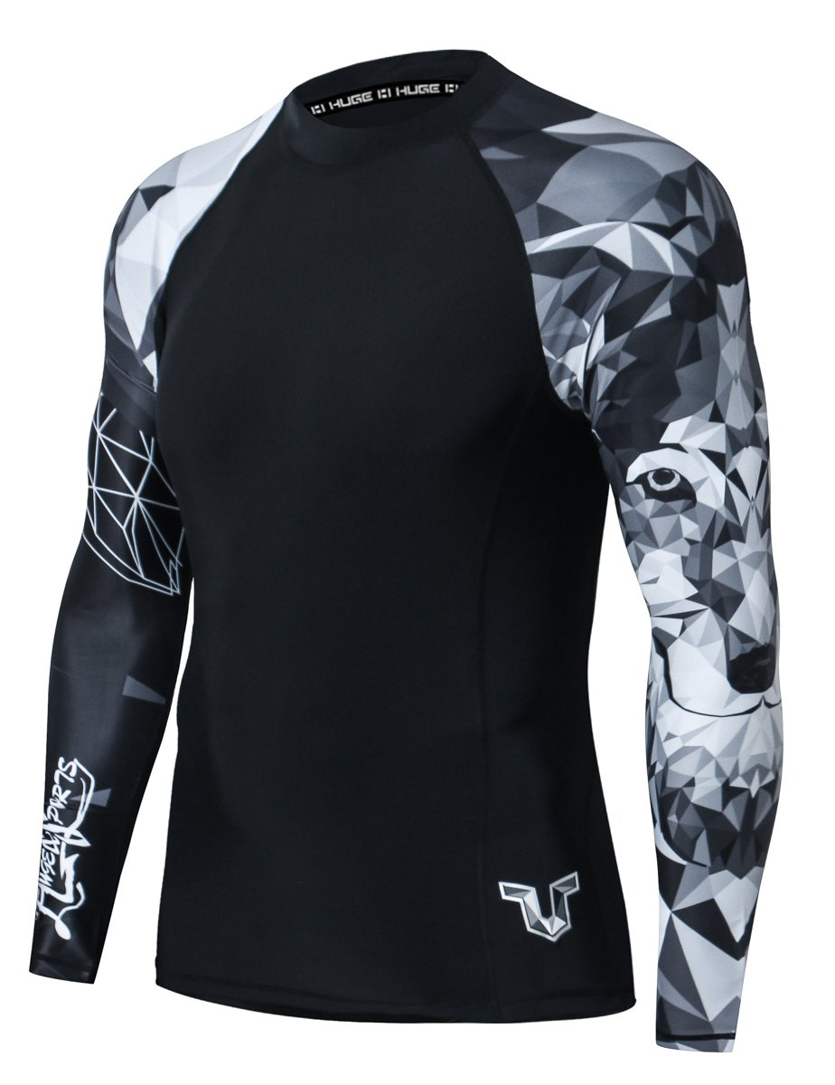 HUGE SPORTS Wildling Series UV Protection Quick Dry Compression Rash Guard (Wolf,M) by HUGE SPORTS