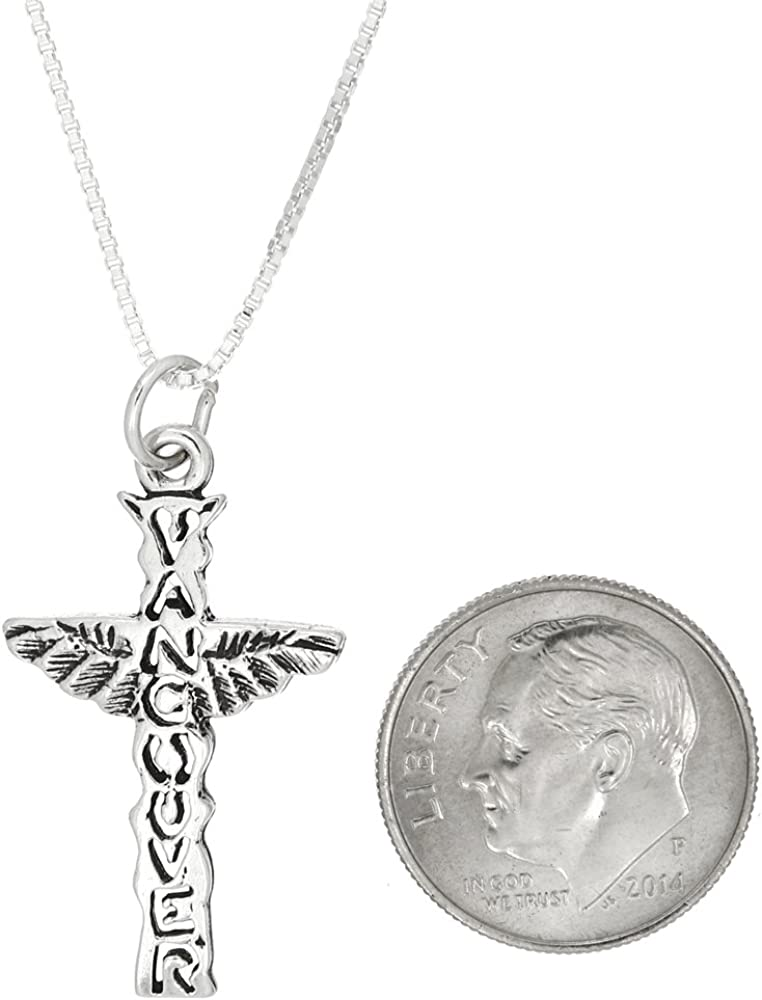 Sterling Silver Oxidized Vancouver Sacrilegious East Van Cross with Wings Charm or Pendant with Polished Box Chain Necklace