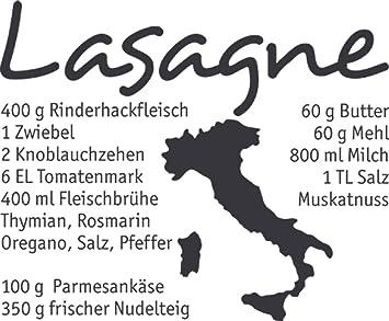 GRAZDesign Küchentattoos Italien - Geschenk Oma Wandtattoo Rezept - Küche  Aufkleber Sprüche - Wandtattoo Küche Lasagne / 48x40cm / dunkelgrau / ...