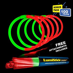 Lumistick 8 Inch 100 Glow Sticks Bulk Party Favors with Connectors | Light Sticks Neon Party Glow Necklaces and Glow Bracelets | Glow in The Dark Party Supplies (Red/Green, 100 Glow Sticks)