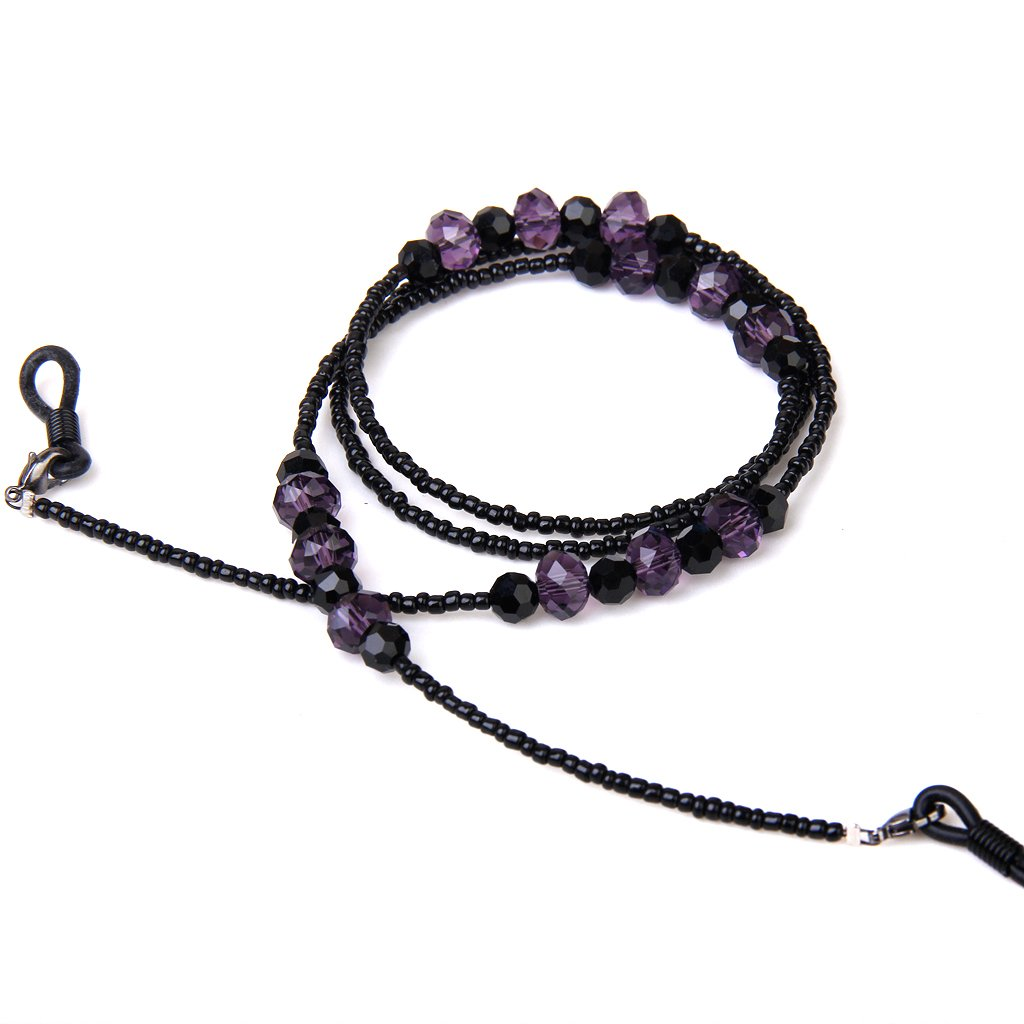 Bohemian Style Eyeglasses/Sunglasses/Spectacles Beaded Chain Holder Neck Cord 68CM---Purple and black SODIAL(R) 035436