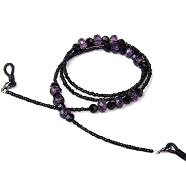 Bohemian Style Eyeglasses//Sunglasses//Spectacles Beaded Chain Holder Neck Cord 68CM---Purple and black