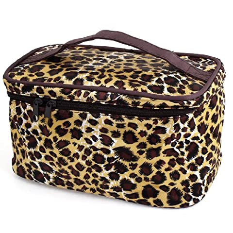 uxcell Brown Beige Leopard Printed Cosmetic Make Up Pouch Bag for Women