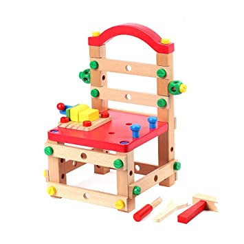 jacootoys wooden bench chair diy builder construction set nuts and rh amazon co uk