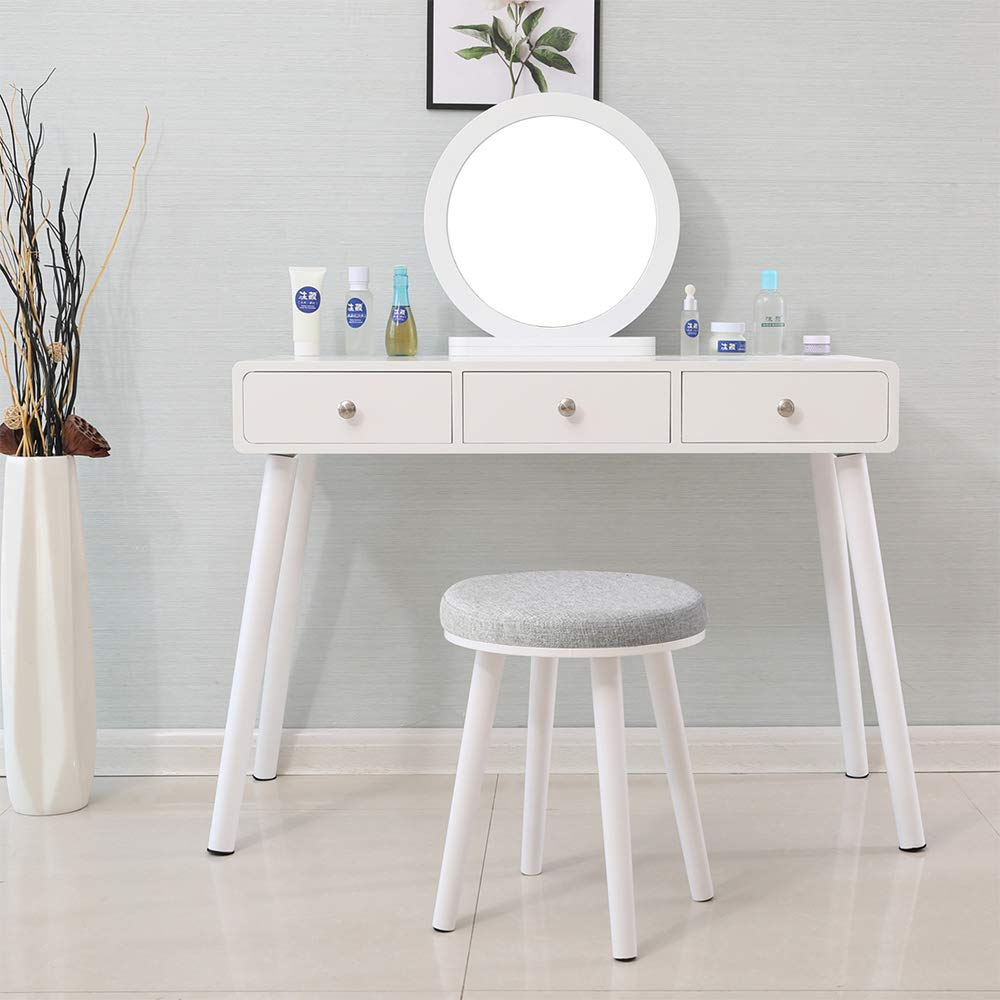 wholesale dealer ad35e 61f36 Huisen Furniture White Dressing Table with Mirror and 3 ...