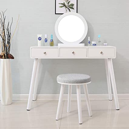 wholesale dealer 625d9 95fef Huisen Furniture White Dressing Table with Mirror and 3 ...