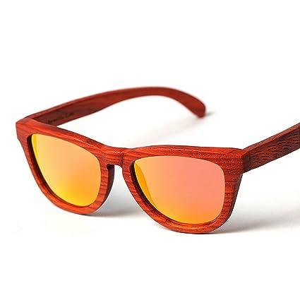 Uiophjkl Lentes Planos espejados Gafas de Sol polarizadas de Madera señora Gafas de Sol de bambú