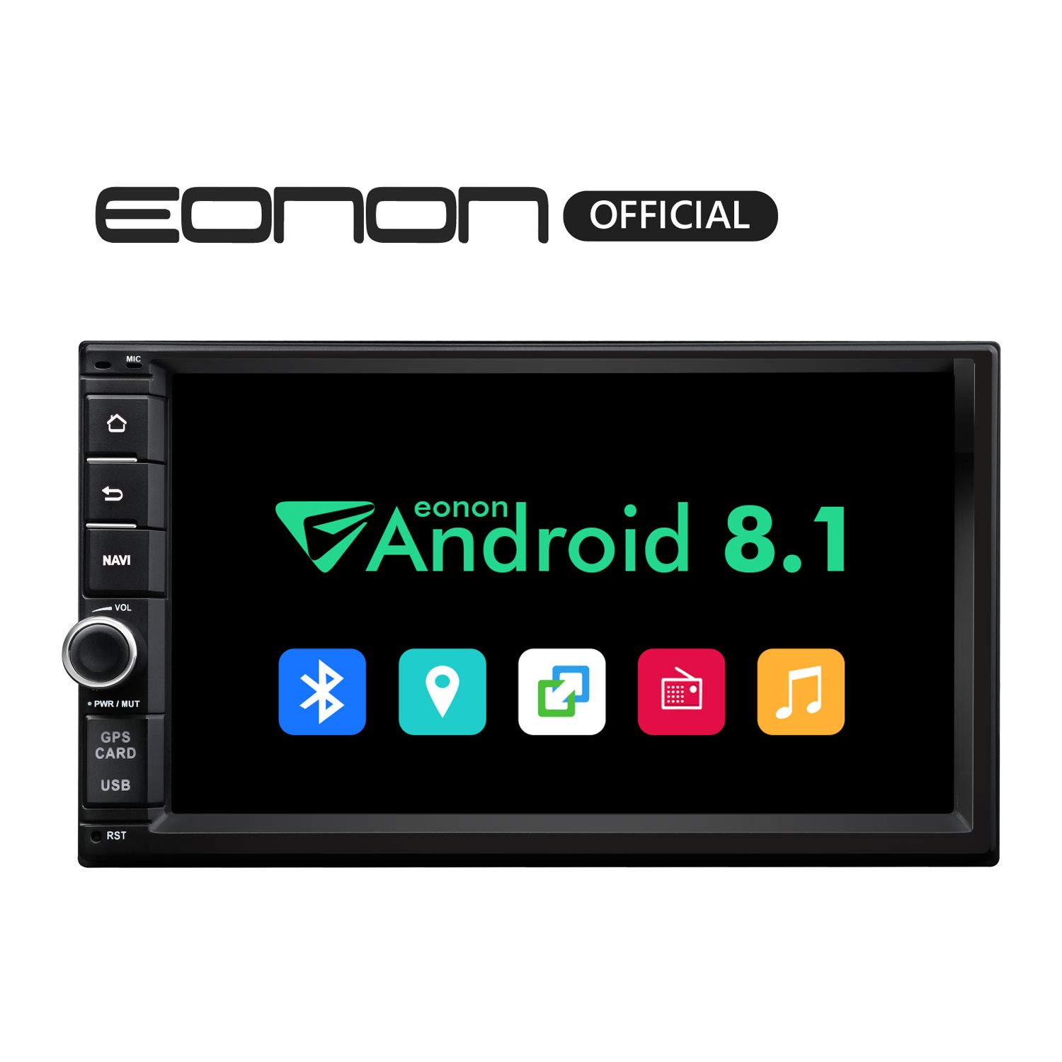 Double 2 Din Car Radios Eonon Android Car Radio Android 8.1 Double Din Car Stereo Radio 7 Inch 32GB ROM Car GPS Navigation Head Unit, Support Fastboot Bluetooth, WiFi Connection (NO DVD/CD)- GA2175