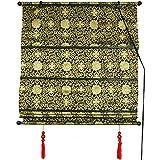 4 feet roman shades - ORIENTAL FURNITURE Shang Hai Tan Blinds - Black/Gold - (48 in. x 72 in.)