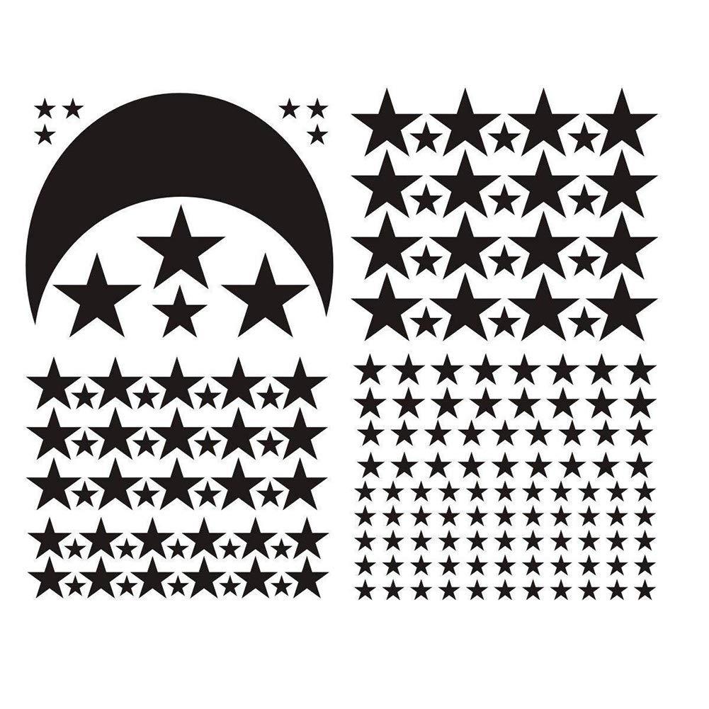 ouken Lune Etoiles Wall Sticker IInterrupteur Stickers Chambre denfant Salle de Jeux D/écoration Bricolage posteur Chambre Decal Home Decor 1 PC Noir