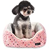 Amazon Basics Cuddler Bolster Pet Bed, Pink Polka Dots