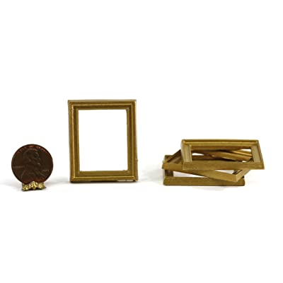 Dollhouse Miniature Set of 4 Gold Picture Frames: Toys & Games
