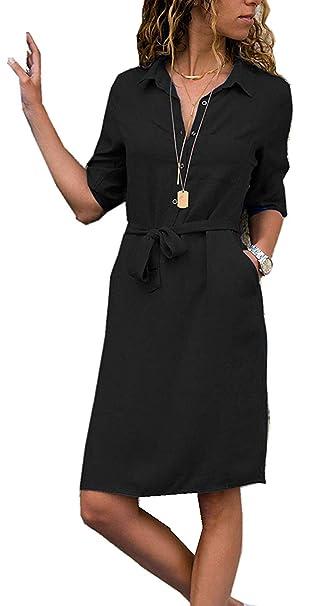 1a6b3a9223e Yidarton Womens Spring Summer Solid Color 1 2 Sleeve V-Neck Casual Tie Waist