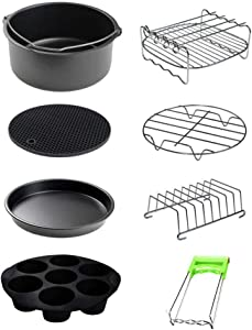 "Air Fryer Accessories 8 Pcs Kits with Skewers Silicone Mat 7"" Pizza Pan Metal Holder Stainless Steel Fits All 3.2QT - 6.8QT  (Medium)"