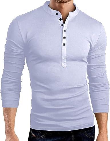 Chickwin Casual Camisa para Hombre, T Camisas Slim Fit Playa Hombres Manga Corta Transpirable Top Blusas de Trabajo Camiseta con Cuello Redondo: Amazon.es: Ropa y accesorios
