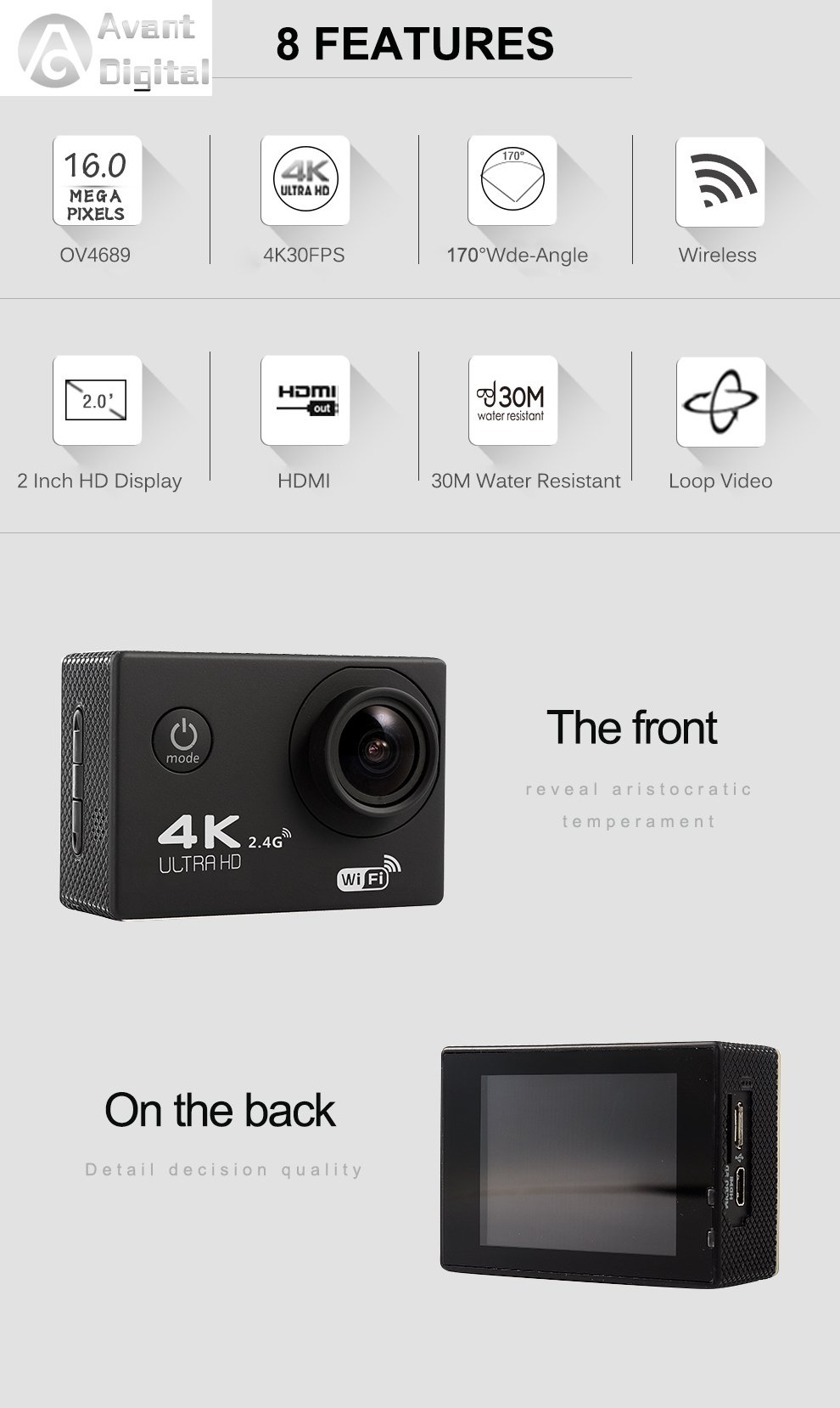 Waterproof Action Camera AD Sports Camera 4K 16MP Wifi Remote Control 170 Ultra Wide Lens SONY Sensor 2017 Newest by Avant Digital (Image #2)