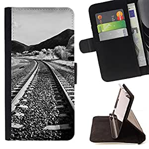 DEVIL CASE - FOR Samsung Galaxy S4 Mini i9190 - Nature Railroad - Style PU Leather Case Wallet Flip Stand Flap Closure Cover