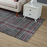 Modway R-1024A-58 Kaja Abstract Plaid 5x8 Area Rug, Twin, Ivory/Black and Red