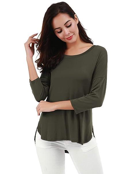 d10493f36aae2 Amazon.com  FISOUL Womens Tunic Tops Modal Cotton Shirt Scoop Neck Long  Sleeve Blouse  Clothing