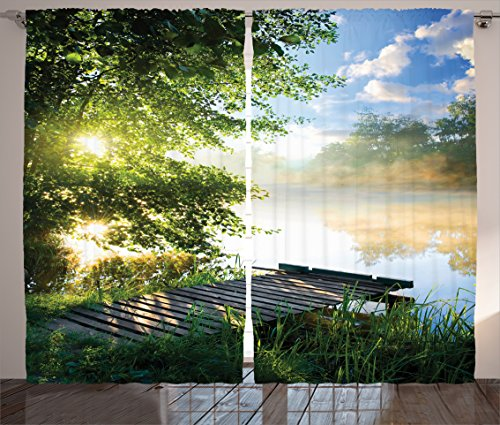 House Decor Curtains by Ambesonne, Fishing Pier by River in the Morning Light with Clouds and Trees Nature Image, Window Drapes 2 Panel Set for Living Room Bedroom, 108W X 84L Inches, Green Blue White