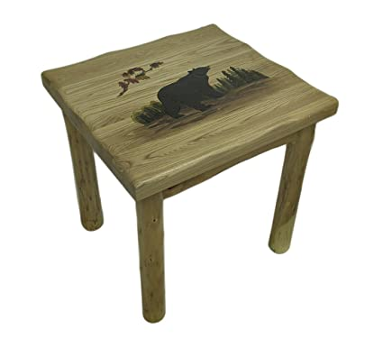Amazon.com: Walking oso rústico hecho a mano mesa auxiliar ...