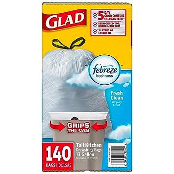 Glad OdorShield 13 Gallon Trash Bags with Febreze, 140-count