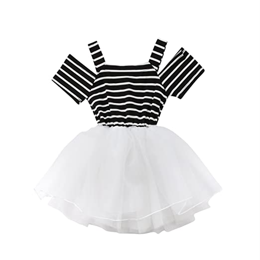 a459ca6d5 Amazon.com  Exquise fille Baby Girl Tutu Dress White Bowknot Striped ...