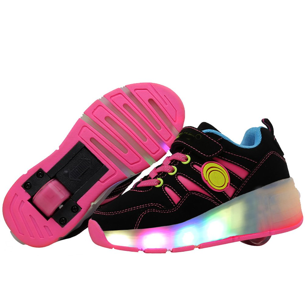 Amazon.com | jlt Children Roller Sneaker with Wheel LED Lighted Flashing Roller Skates Kids Boy Girl Shoes Zapatillas Con Ruedas (3, LED Pink) | Sneakers