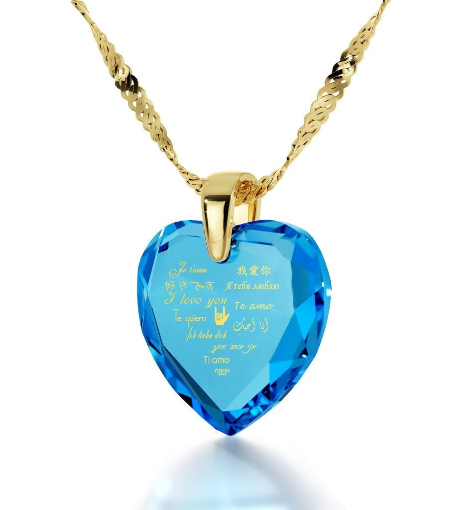 Gold Plated Heart Pendant I Love You Necklace 12 Languages 24k Gold Inscribed on Blue Cubic Zirconia, 18''