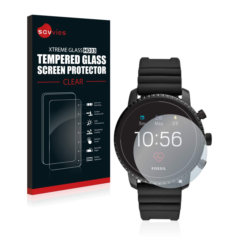 savvies Cristal Templado Compatible con Fossil Q Explorist HR (4 ...