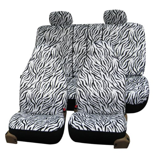 FH-FB121114 Zebra Prints Car Seat Covers, Airbag ready and Split Bench, White color (Covers Zebra Car Seat White)