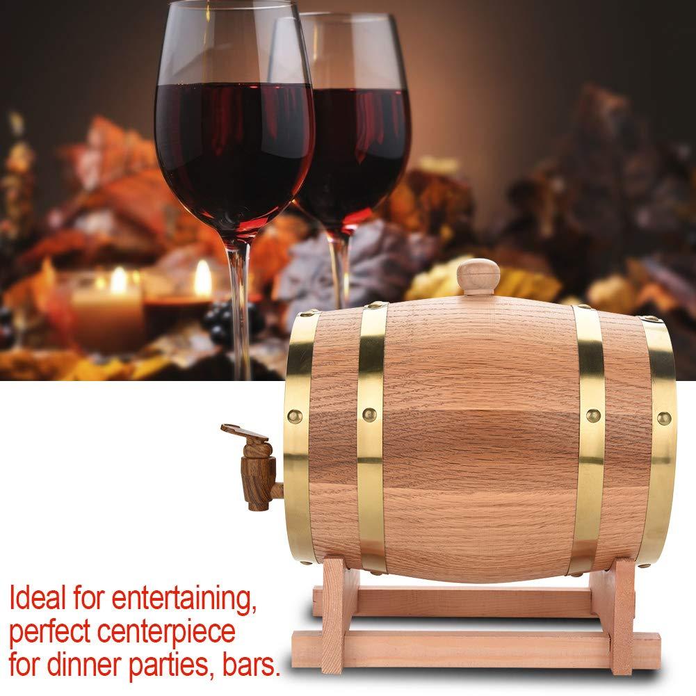 Oak Barrel, Wooden Wine Barrel, Vintage Timber Wine Barrel for Beer Whiskey Rum Bourbon Tequila 3L/5L/10L (3L) by EBTOOLS (Image #7)