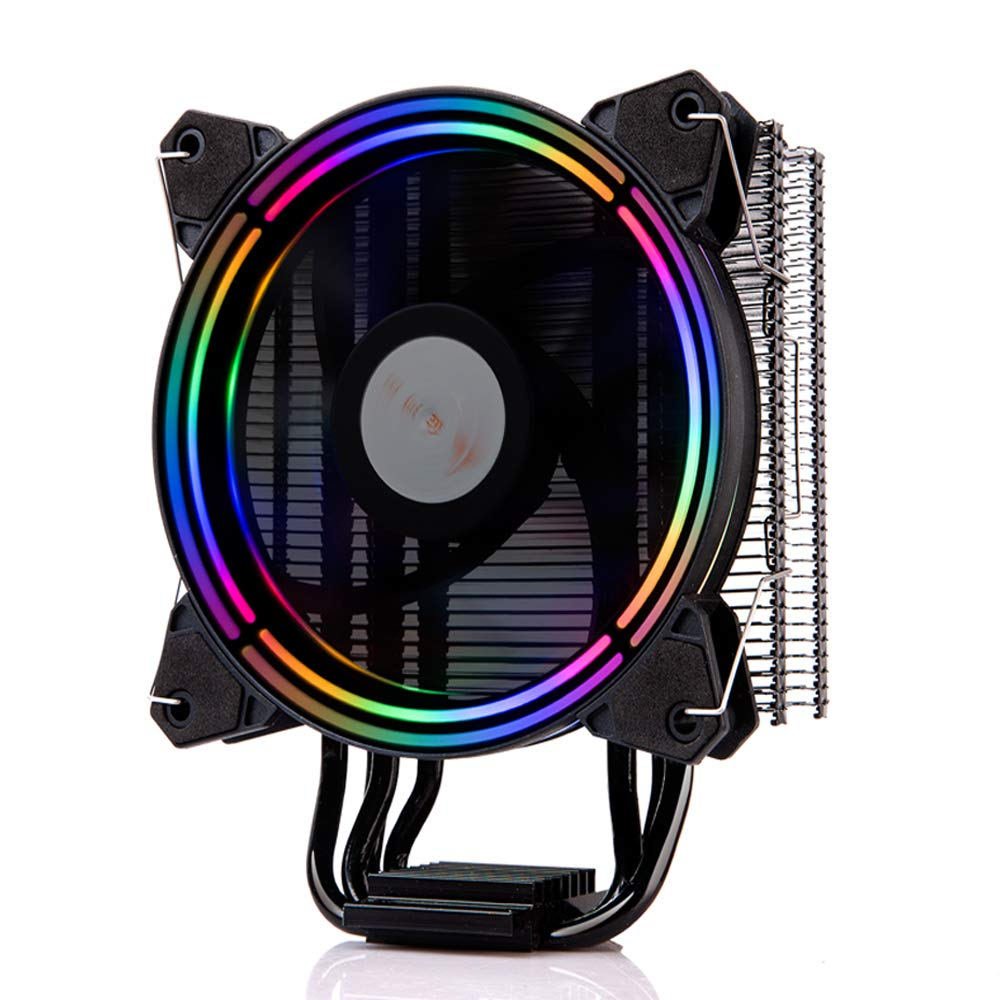 GOLDEN FIELD PBZ8 CPU Cooler CPU Air Cooler Heastink with 4 Heatpipes & 120mm LED Fan Computer CPU Cooling Cooler Radiator for Intel & AMD