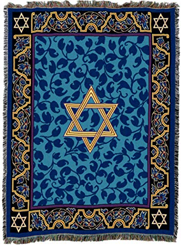 Pure Country Weavers | Magen David Star Woven Tapestry Throw Blanket with Fringe Cotton USA 72x54